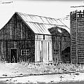 Barn And Silo Distressed Version Print by Joyce Geleynse