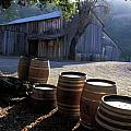 Barn and Wine Barrels Poster by Kathy Yates
