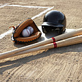 Baseball Glove, Balls, Bats And Baseball Helmet At Home Plate Print by Thomas Northcut