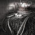 Basket of eggs on a bale of hay Print by Sandra Cunningham
