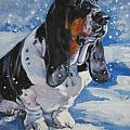 basset Hound in snow Print by L A Shepard