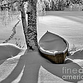 Bath and Snowy Rowboat Print by Ari Salmela