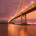 Bay Bridge At Night, San Francisco Print by Photograph by Daniel Pivnick
