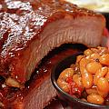 BBQ Ribs with beans and cole slaw Print by David Smith