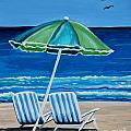 Beach Chair Bliss Poster by Elizabeth Robinette Tyndall