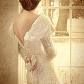 Beautiful Lady in Sequin Gown Looking out Window Print by Jill Battaglia