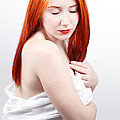 Beautiful redhead studio shot Print by Gabriela Insuratelu