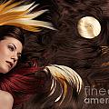 Beautiful Woman with Colorful Hair Extensions Print by Oleksiy Maksymenko