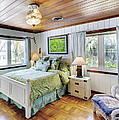 Bedroom With a Wood Ceiling Print by Skip Nall