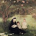 Beneath the Lilac at Maurecourt Print by Berthe Morisot