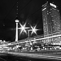 Berlin Alexanderplatz At Night Poster by Bernd Schunack