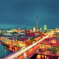 Berlin City At Night Poster by Matthias Haker Photography