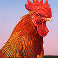 Big Red Rooster Print by James W Johnson