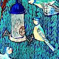 Bird people The bluetit family Poster by Sushila Burgess