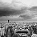 Black And White Aerial View Of An Overcast Sky Above The Eiffel Tower Poster by Stockbyte
