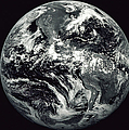Black And White Image Of Earth Poster by Stocktrek Images
