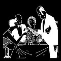 Black and White Wine Waiter Print by James Hill