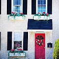 Black Window Shutters with Flowers Poster by Paul Ward