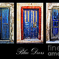 blue doors of santorini Print by Meirion Matthias