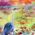 Blue Heron Sunset Watercolor by Ginette Print by Ginette Fine Art LLC Ginette Callaway