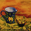Blue Pitcher with Lemons Poster by Phyllis  Smith