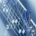 Blue Saxophone Print by Norman Reutter