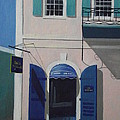 BLUE SHUTTERS IN CHARLOTTE AMALIE Poster by Robert Rohrich