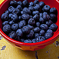 Blueberries in red bowl Print by Garry Gay