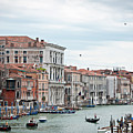 Boats And Gondolas In Grand Canal Print by AlexandraR