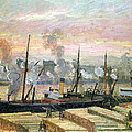 Boats Unloading Wood Print by Camille Pissarro