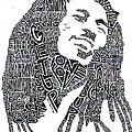Bob Marley Black and White Word Portrait Print by Kato Smock
