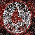 Boston Red Sox Bottle Cap Mosaic Print by Paul Van Scott