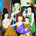 Botero Style Family Poster by Vickie Meza