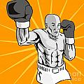 Boxer Boxing Knockout Punch Retro Print by Aloysius Patrimonio