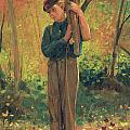 Boy Holding Logs Print by Winslow Homer