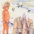 Boy with Sandcastle Poster by Shawn McLoughlin