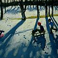 Boys Sledging Print by Andrew Macara