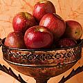 Brass bowl with fuji apples Poster by Garry Gay