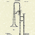 Brass Trombone Musical Instrument 1902 Patent Poster by Prior Art Design