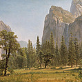 Bridal Veil Falls Yosemite Valley California Print by Albert Bierstadt