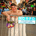 Bride and the Barricade on Bourbon Street Print by Kathleen K Parker
