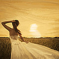 bride in yellow field on sunset  Poster by Setsiri Silapasuwanchai