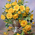 Bright Smile - Roses in a Silver Vase Poster by Albert Williams