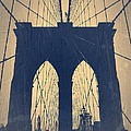 Brooklyn Bridge Blue Print by Irina  March