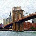 Brooklyn Bridge Sketch Print by Randy Aveille