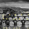 BW Prague Bridges Print by Yuriy  Shevchuk