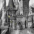 BW Prague Charles Bridge 02 Print by Yuriy  Shevchuk