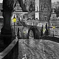 BW Prague Charles Bridge 03 Print by Yuriy  Shevchuk