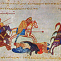 Byzantines Cavalrymen Pursuing The Rus Poster by Photo Researchers