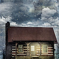 Cabin at Night Poster by Stephanie Frey